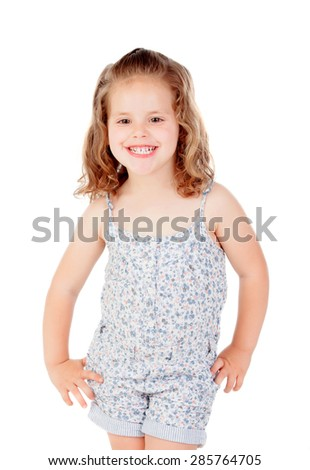 Cute little girl with three year old smiling on a white background