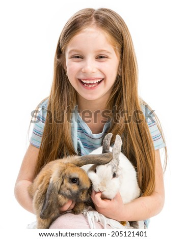 cute little girl with two Easter rabbits isolated on white - stock photo