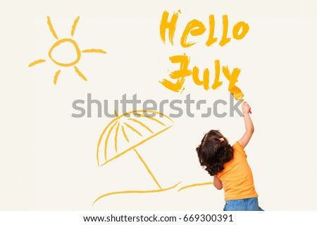 Cute Little Girl Writing Hello July   Using Painting Brush On Wall  Background