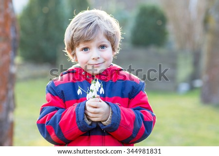 Cute little kid boy of 4 years holding snowdrop flowers outdoors on sunset. Child making gift for mum and dad. - stock photo