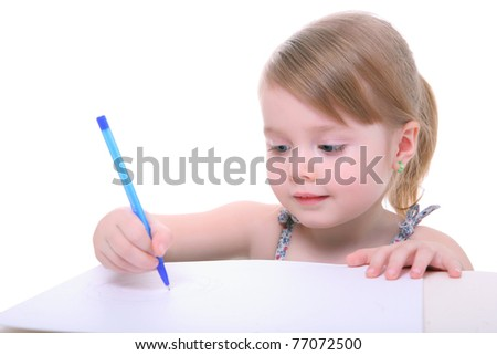 cute little kid girl learning and writing. preschool child. isolated on white - stock photo