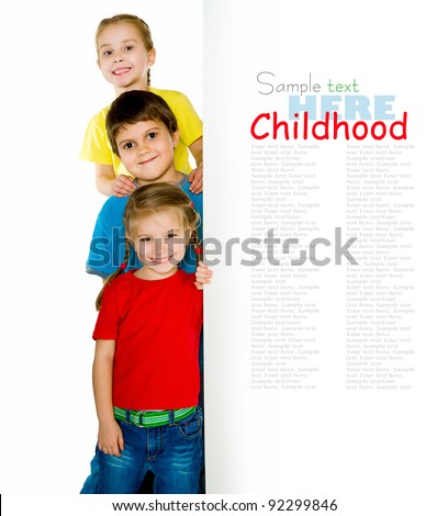 Cute little kids ower a  white background - stock photo