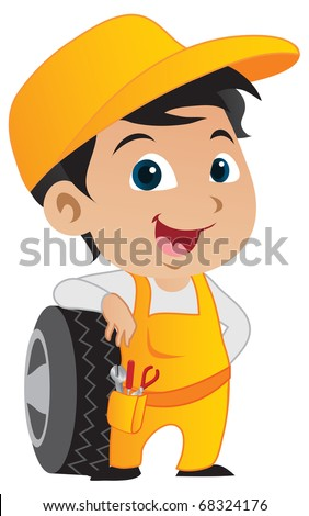 Cute little mechanic boy leaning against a car's tire - raster version. - stock photo