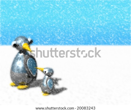 Cute little penguin family in a heavy snow storm.
