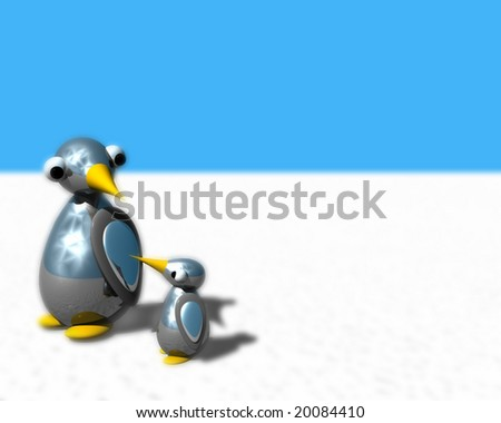 Cute little penguin family walking on snow. - stock photo