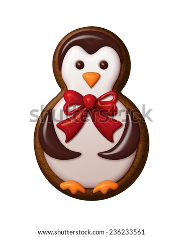 cute little penguin illustration, Christmas gingerbread cookie decorated with colorful icing - stock photo