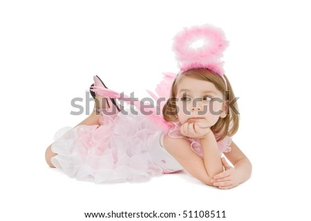 Cute little pink angel girl  isolated on white background. - stock photo