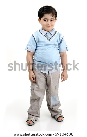 Cute little preschool boy isolated on white, mixed race, arabic white - african american - stock photo