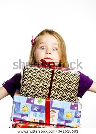 Cute little preschooler girl christmas portrait, isolated on white - stock photo