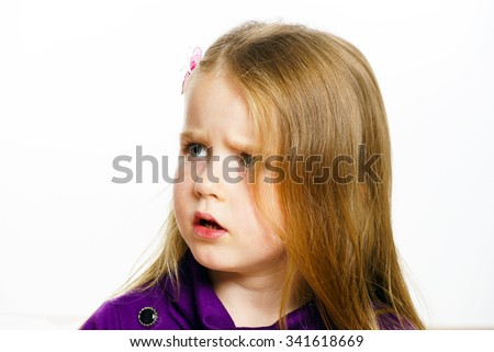 Cute little preschooler girl portrait isolated on white - stock photo