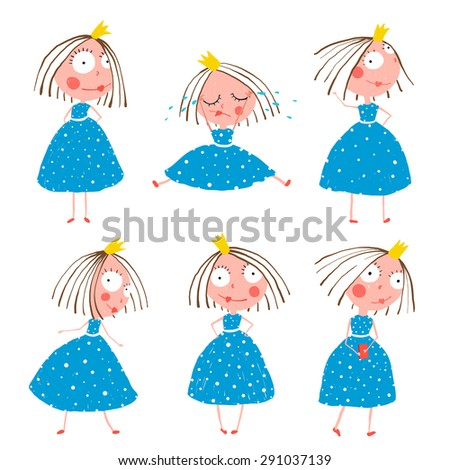 Cute Little Princess Girls in Poses Collection for Kids. Colorful fun childish hand drawn illustrations of fairy tale beautiful quirky character with big eyes for children. - stock photo