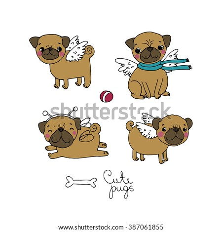 Cute little Pugs. Dogs. Hand drawing isolated objects on white background. Vector illustration. - stock photo