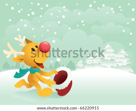 Cute little Reindeer trying to catch the first snow with his santa hat. Great spacing for text - raster version. - stock photo