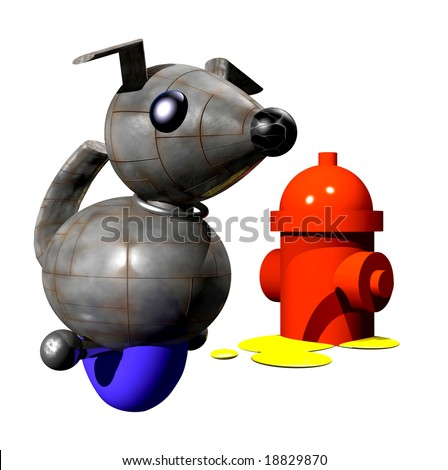 Cute little robot dog peeing on fire hydrant. - stock photo