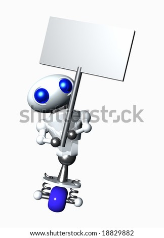 Cute little robot holding a blank sign. Blank sign suitable for your message. - stock photo