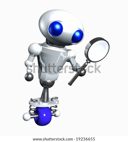 Cute little robot looking through a magnifying glass. - stock photo