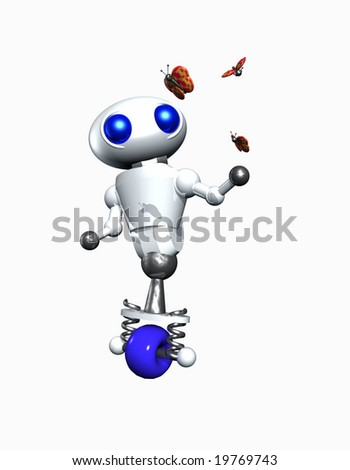 Cute little robot playing with butterflies. - stock photo