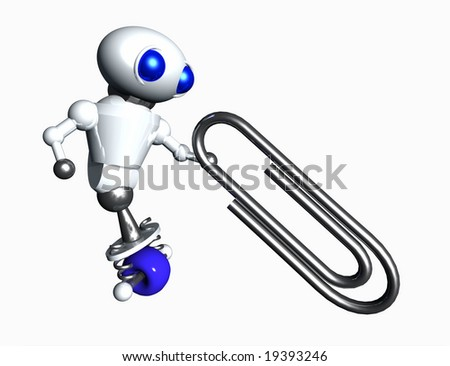 Cute little robot pulling a heavy paperclip.