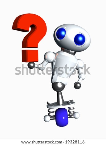 Cute little robot studying a red question mark symbol. - stock photo