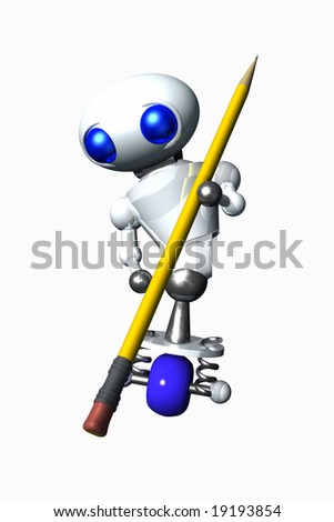 Cute little robot using a pencil eraser. - stock photo