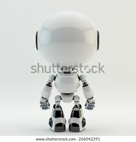 Cute little robotic characters - stock photo