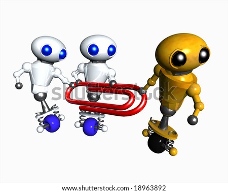 Cute little robots struggling to hold onto a red paperclip in this office metaphor. - stock photo