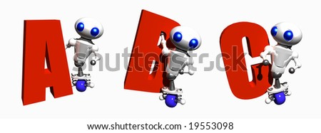 Cute little robots with the letters A, B and C. - stock photo