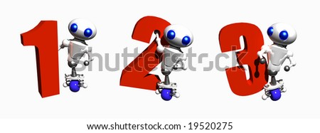 Cute little robots with the numbers 1, 2 and 3.
