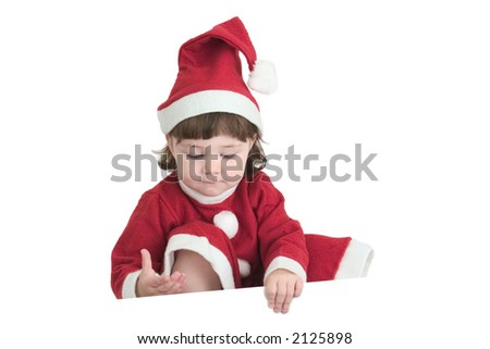 Cute little Santa holding up something - put here your own message!