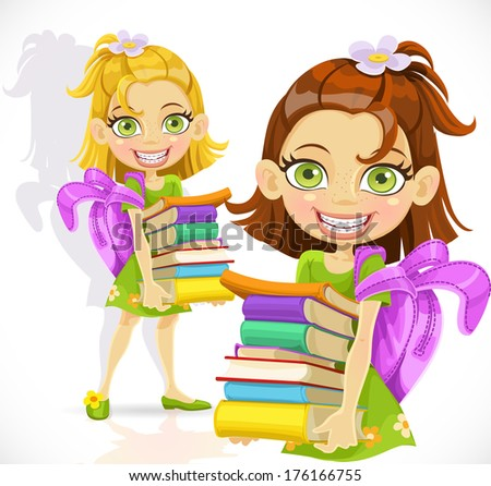 Cute little schoolgirl with a stack of books