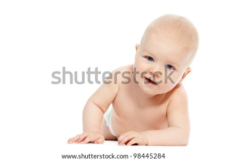 Cute little smiling crawling baby isolated on white