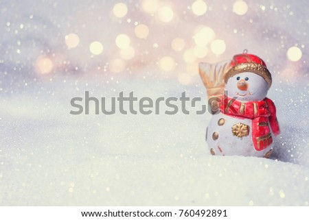 Cute Little Snowman. Christmas Background