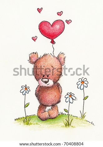 Cute little teddy bear with red heart balloon on white background - stock photo
