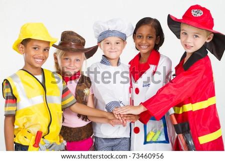 cute little workers teamwork - stock photo