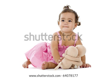 cute llittle girl with cuddles, isolated on white