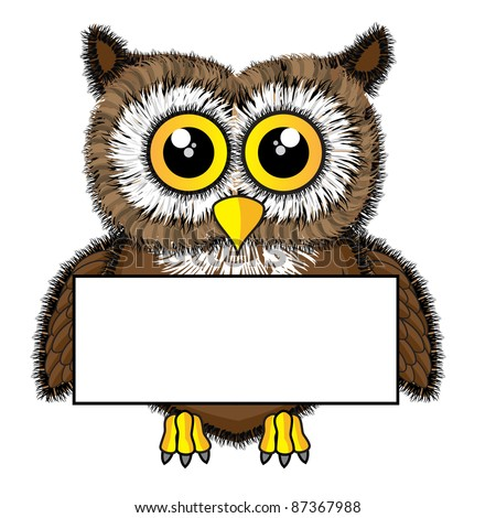 Cute looking owl holding blank sign - stock photo
