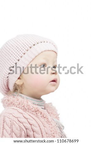 cute lovely portrait of little caucasian toddler over white