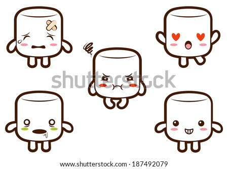 Cute marshmallow character with different expressions 2- Hurt, In love, Furious, Zombie, Cheery. Raster - stock photo