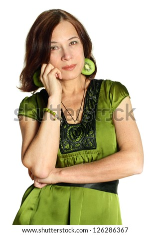 cute mature woman isolated stock photo (royalty free) 126286367