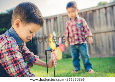 Cute mixed race Asian Caucasian brothers play with a garden ornament in the backyard of their suburban home. Filtered effects - stock photo