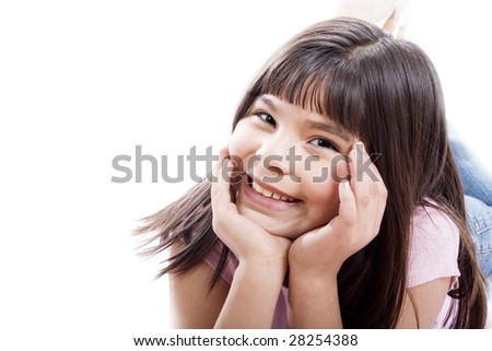 Cute mixed race girl -Isolated on white - stock photo
