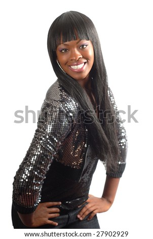 Cute model in a shiny sequin jacket smiling isolated on white - stock photo