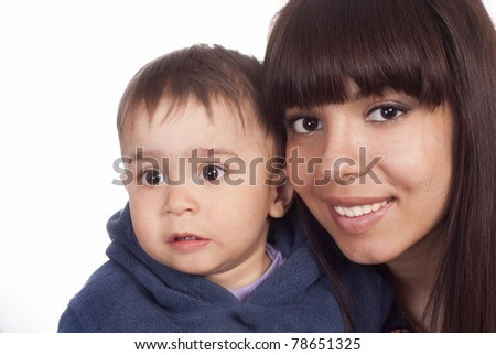 cute mom and her son on a white