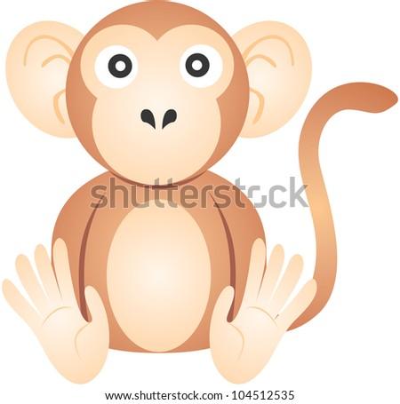 Cute Monkey Illustration - stock photo