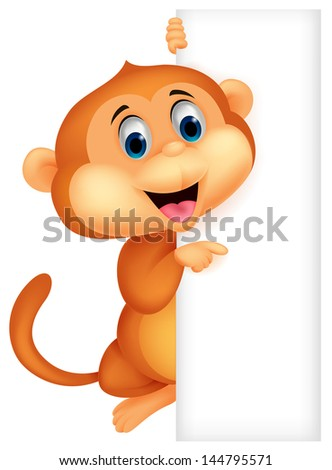 Cute monkey with blank sign - stock photo