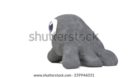 cute monster with skin and eye looking at - stock photo