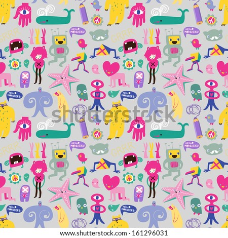Cute monsters and freaks. Seamless background. Set 7. - stock photo
