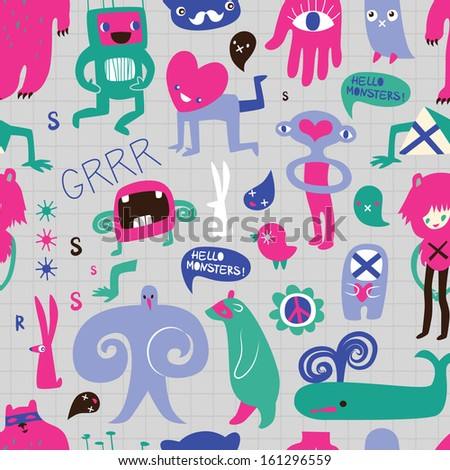 Cute monsters and freaks. Seamless background. Set 8.  - stock photo