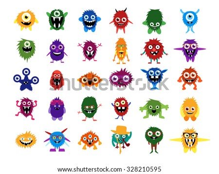 Cute monsters. Big set of cartoon monsters. Editable faces, eyes, teeth, smiles. Fluffy monsters and aliens in glasses with custom expessions and gesture. Halloween creatures for your design. - stock photo