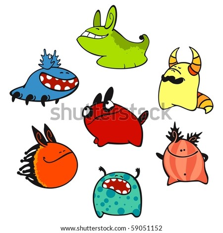 Cute monsters #3 (raster version) - stock photo